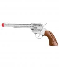 Zilverkleurig cowboy pistool met geluid