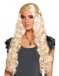 Lange blonde pruik met kleine vlechten voor vrouwen