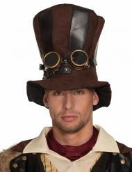 Gestreepte Steampunk hoge hoed voor volwassenen