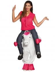 Vrouw op rug van eenhoorn kostuum voor volwassenen