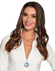 Blauwe roer halsketting voor volwassenen
