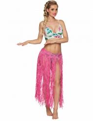 Lange roze Hawaiiaanse rok voor volwassenen