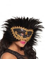 Venetiaans masker met veren voor dames