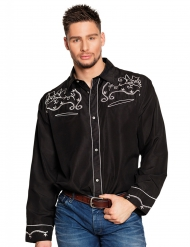 Zwarte western cowboy blouse voor heren