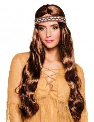 Lange bruine indianenpruik met hoofdband voor vrouwen