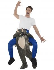 Man op de rug van een dinosaurus kostuum voor volwassenen