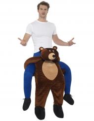 Man op de rug van een beer kostuum voor volwassenen