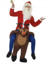 Kerstman op rendier carry me kostuum voor volwassenen