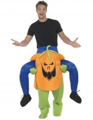Man op de rug van een pompoen kostuum voor volwassenen