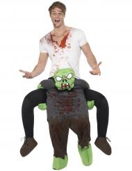 Man op de rug van een zombie kostuum voor volwassenen