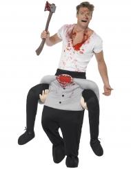 Man op rug van onthoofde man kostuum