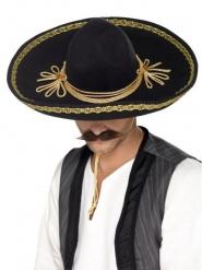 Luxe sombrero zwart met goud voor volwassenen