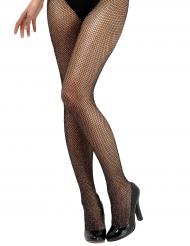 Zwarte netstof legging met glitters voor vrouwen