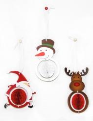 3 kerst honingraat decoraties
