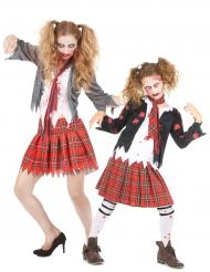 Zombie schoolmeisje koppelkostuum voor moeder en dochter