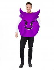 Paarse duivel emoticon kostuum voor volwassenen