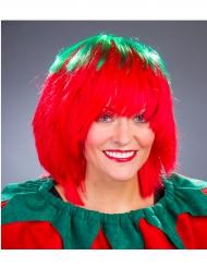 Groene en rode aardbei pruik voor vrouwen