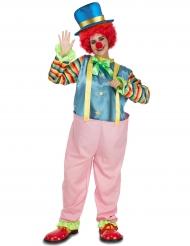 Roze en kleurrijk clown kostuum voor volwassenen