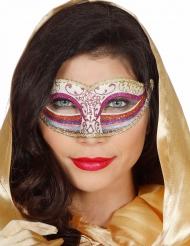 Roze regenboog glitter masker voor vrouwen