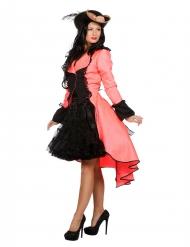 Luxe fluo roze jas voor volwassenen