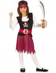 Gestreept zwart en roze piraten kostuum voor meisjes