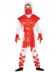 Wit en rood spook ninja kostuum voor jongens
