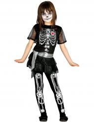 Shiny skelet kostuum voor meisjes