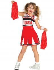 Rood en wit zombie cheerleader kostuum voor meisjes
