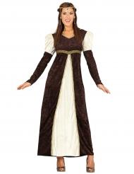 Bruin middeleeuws prinsessenkostuum voor vrouwen