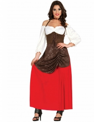 Bruin en rood herbergier kostuum voor vrouwen