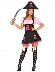 Roze en zwart piratenkostuum voor vrouwen