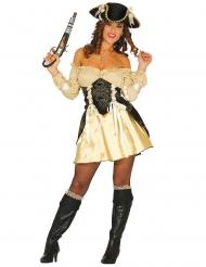 Sexy goudkleurig piratenkostuum voor vrouwen