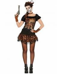 Zwart en koperkleurig Steampunk skelet kostuum voor vrouwen
