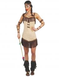 Bruin met beige indiaan kostuum voor dames