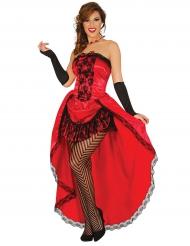 Rood burlesk kostuum voor vrouwen