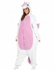 Wit en roze eenhoorn kostuum voor volwassenen