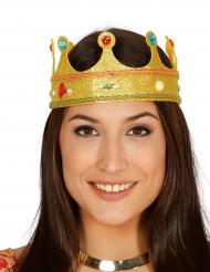Glitter koningin kroon met nepjuweel voor volwassenen