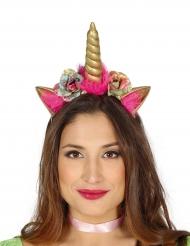 Roze en goudkleurige eenhoorn haarband voor volwassenen