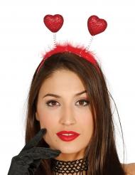 Rode glitter harten haarband voor volwassenen