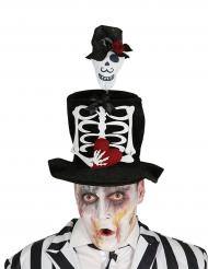 Hoge hoed met skelet voor volwassenen