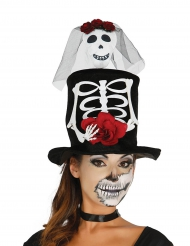 Skelet bruid hoge hoed voor volwassenen