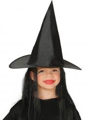 Heksenhoed met zwarte haren voor kinderen
