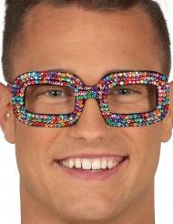Veelkleurige pop bril voor volwassenen
