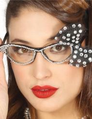 Jaren 50 bril met witte strik voor vrouwen
