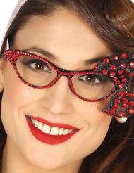 Jaren 50 bril met rode strik voor vrouwen