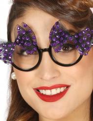Jaren 50 bril met paarse strikjes voor vrouwen