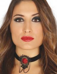 Zwarte halsband met rode roos voor vrouwen