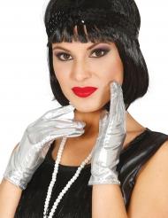 Korte zilverkleurige metallic handschoenen voor vrouwen