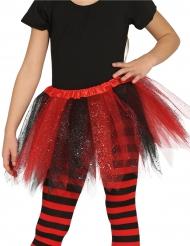 Zwarte en rode glitter tutu voor meisjes