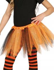 Zwarte en oranje tutu met glitters voor meisjes